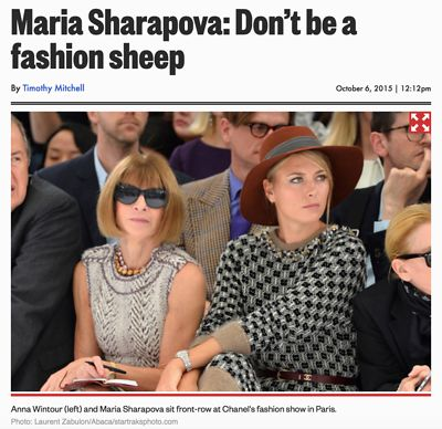 Anna Wintour and Maria Sharapova, Louis Vuitton's Spring Summer 2016 Ready-To-Wear collection show 2016