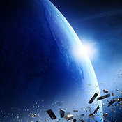 Space junk orbiting around earth - Conceptual of pollution around our planet - 3D Artwork
