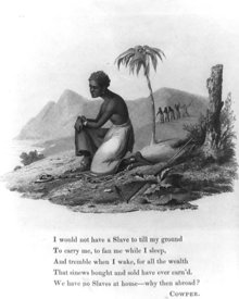 Scene of slave with  words from abolition poem