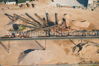 Aerial view of sand / gravel distribution centre