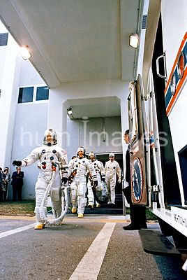 3 March 1969- Apollo 9 crew leaves Kennedy Space Center's Manned Spacecraft Operations Bldg for Apollo 9 prelaunch countdown....
