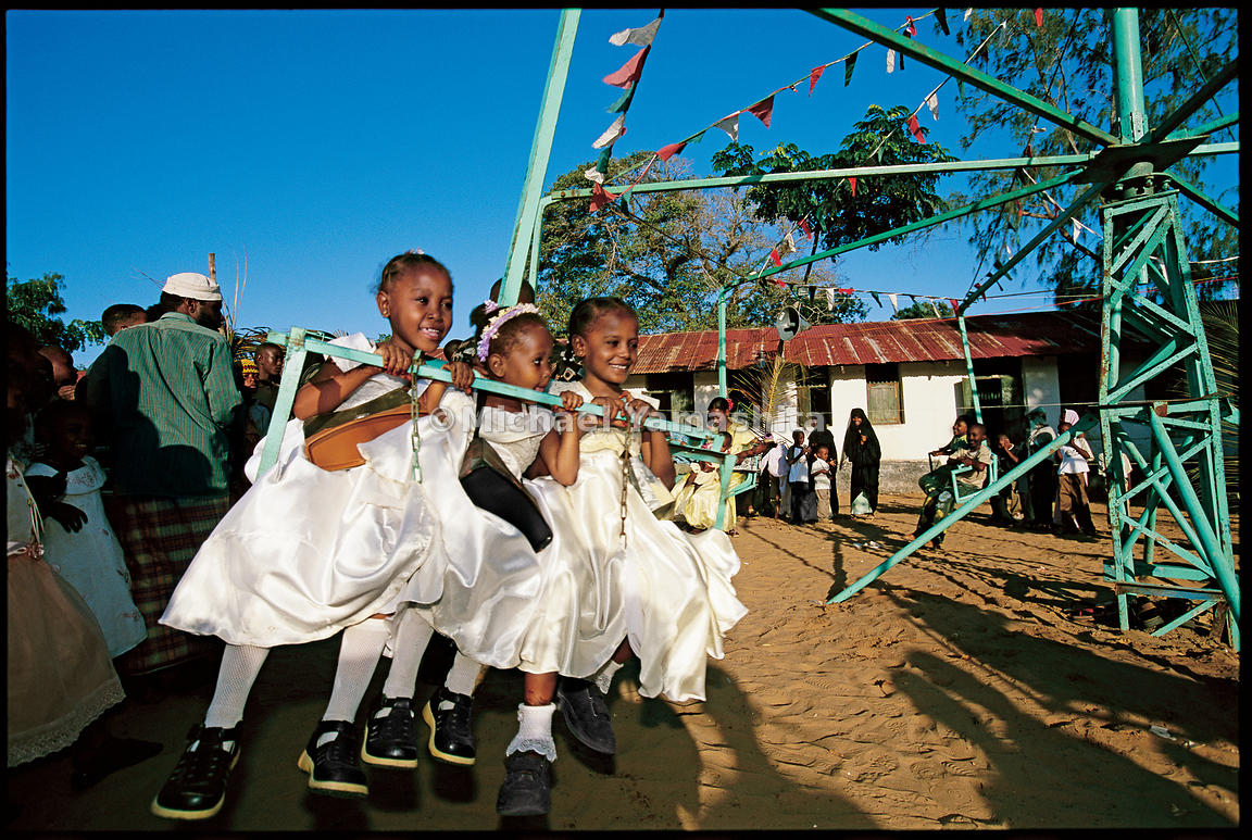 Eid, the traditional Islamic holiday celebrating the end of Ramadan, brings out the children of Lamu, dressed in their holida...