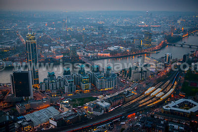 Aerial view of Vauxhall and Nine Elms regeneration site at dusk, London