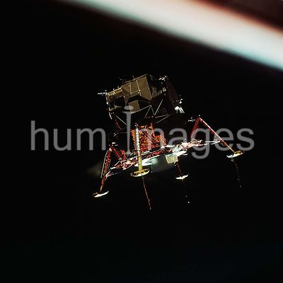 (20 July 1969) --- The Apollo 11 Lunar Module (LM), in a lunar landing configuration, is photographed in lunar orbit from the...