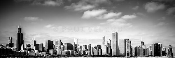 Chicago Skyline Panoramic Black and White Picture