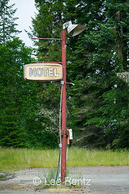 Abandoned Motel Sign Along Washington State's Mountain Loop Highway