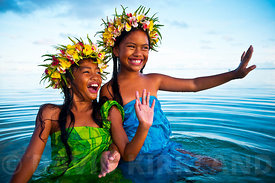 Girls playing in the water, Rarotonga