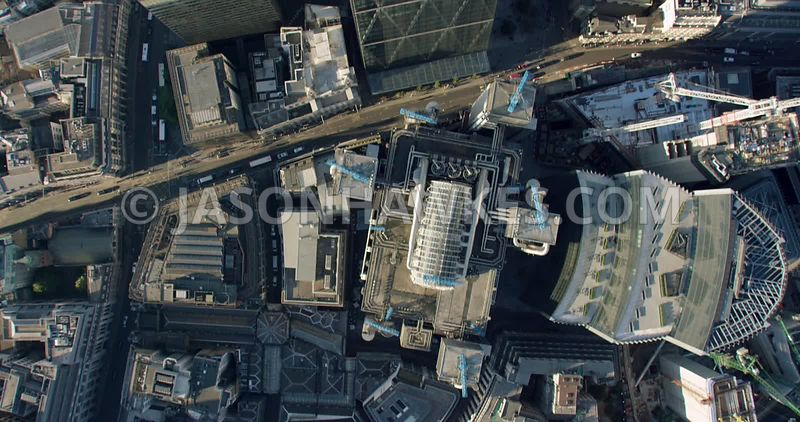 London Aerial Footage of City of London skyscrapers with the Leadenhall Building.