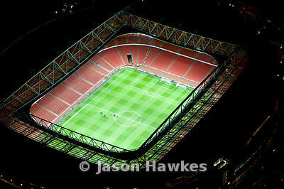 Emirates Stadium at night, London