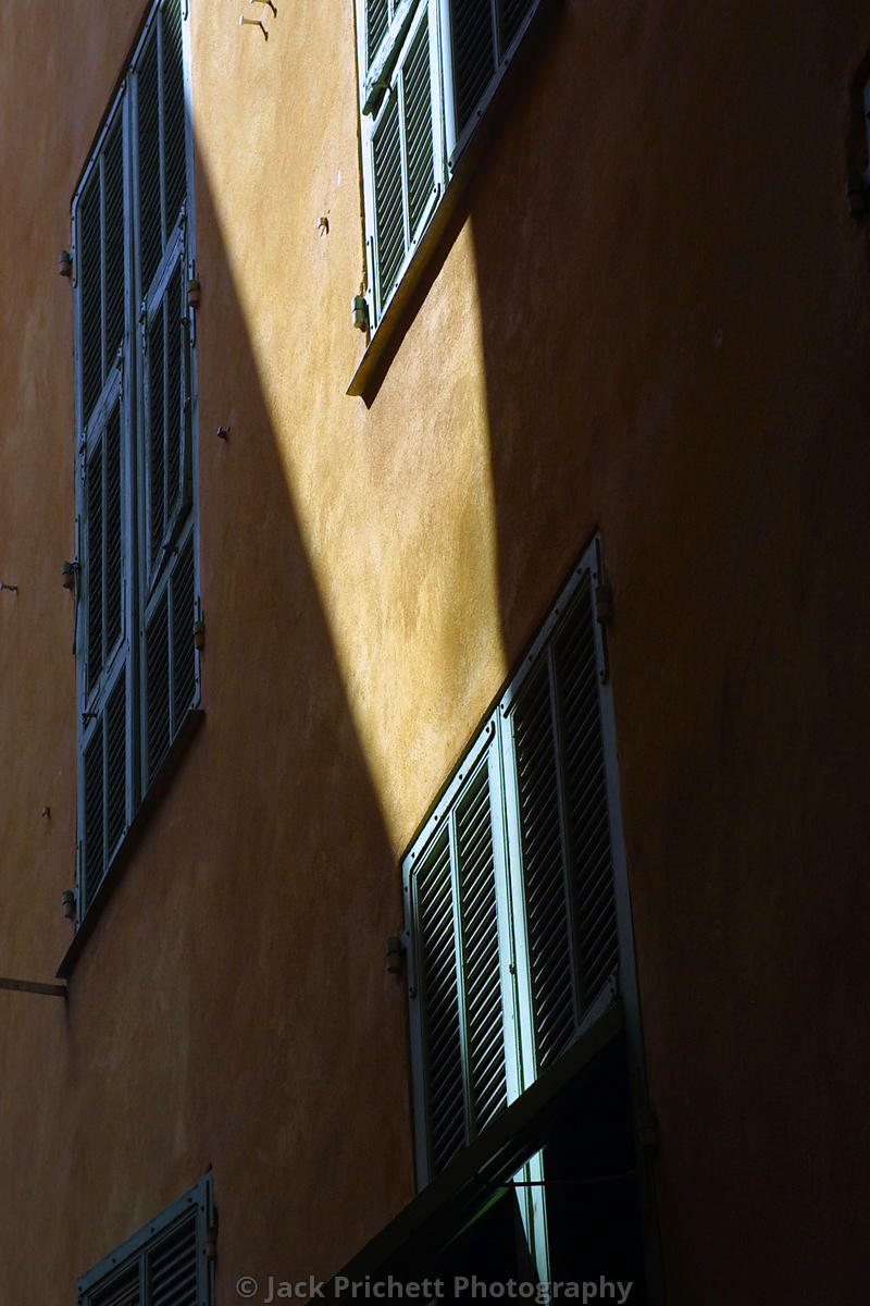 Sun-shadow architectural detail in Nice, France