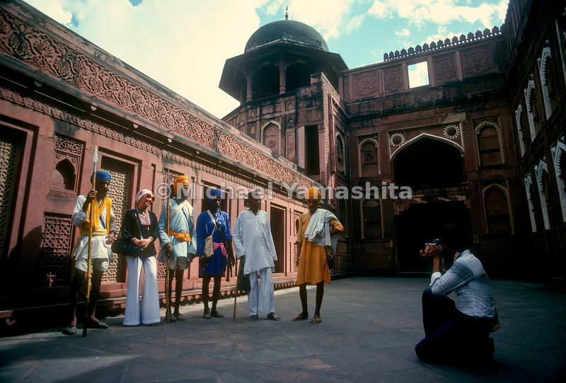 Tourists visit the Red Fort which was home to the emperors of the Mughal Dynasty for 200 years until 1857. Agra, Delhi, India