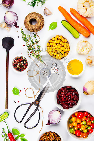 Colorful food ingredients on white background