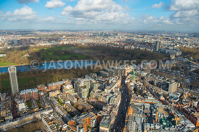 Aerial view of London, The Serpentine with Knightsbridge.