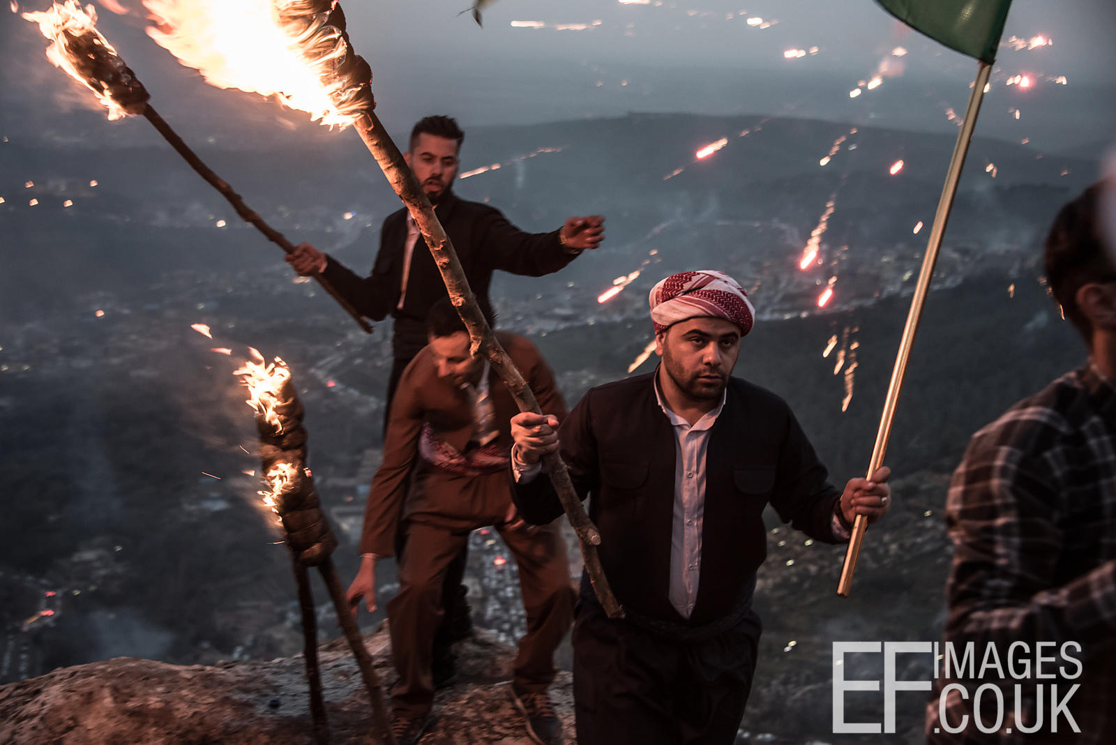 Newroz Revellers Setting Off On A Torchlit Procession In Akre, Iraq