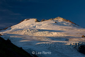 Mt. Baker and its Sherman Crater and Easton Glacier viewed from the Railroad Grade Trail in late afternoon light, Mt. Baker–S...