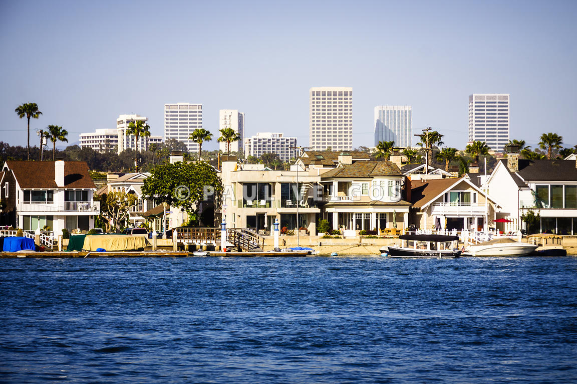 Newport Beach Skyline and Waterfront Homes Picture