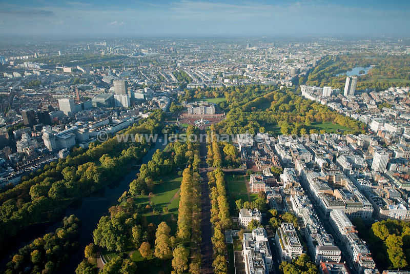 Aerial view looking up The Mall to Buckingham Palace, Westminster