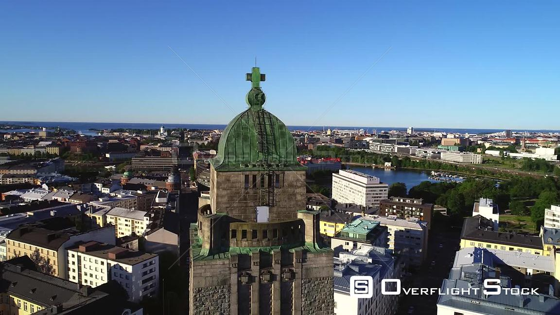 Helsinki Cityscape, Uhd Aerial View Around the Kallio Cathedral Church Tower and the City, on a Sunny Summer Morning Dawn, in...