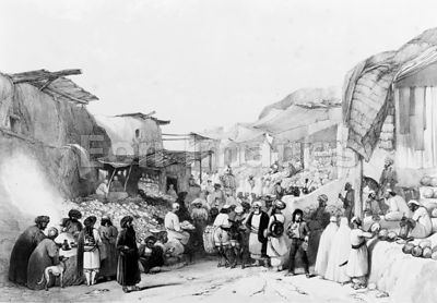 Main street in the bazaar at Kabul