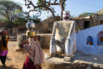 Statue of a figure in Muslim history, Narwar village, Rajasthan, India