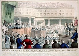 Trial of the Irish patriots at Clonmel, Oct. 22nd. 1848 Thos. F. Meagher, Terence B. Mc.Manus, Patrick O'Donohue, receiving t...