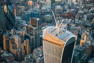 Aerial view of the development of 20 Fenchurch Street, London