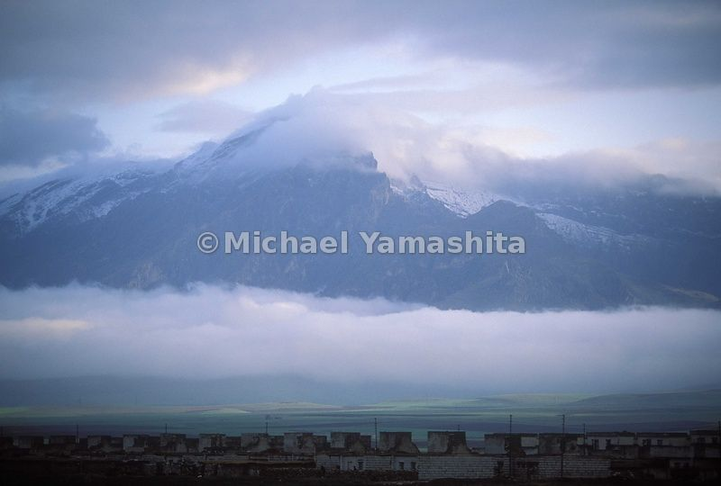 Piramagroon Mountains, highest in the area. This traditional village is located 6000 ft up in this mountain chain.  Zewia