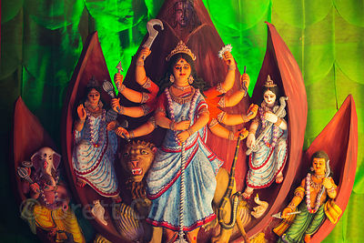 Beautiful lotus-themed Durga Puja pandal, Kolkata, India