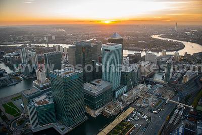 London. Aerial view of Canary Wharf
