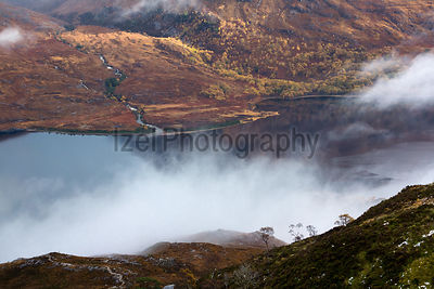 A cloudy autumns day at Gleann Bianasdail and Loch Maree in the Scottish Highlands.