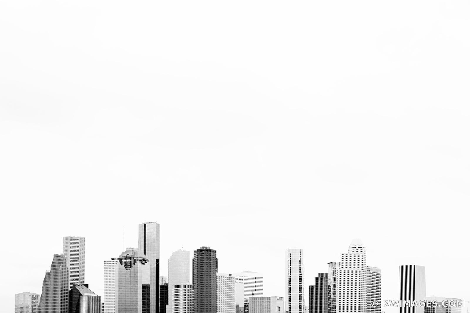 DOWNTOWN HOUSTON SKYLINE BLACK AND WHITE