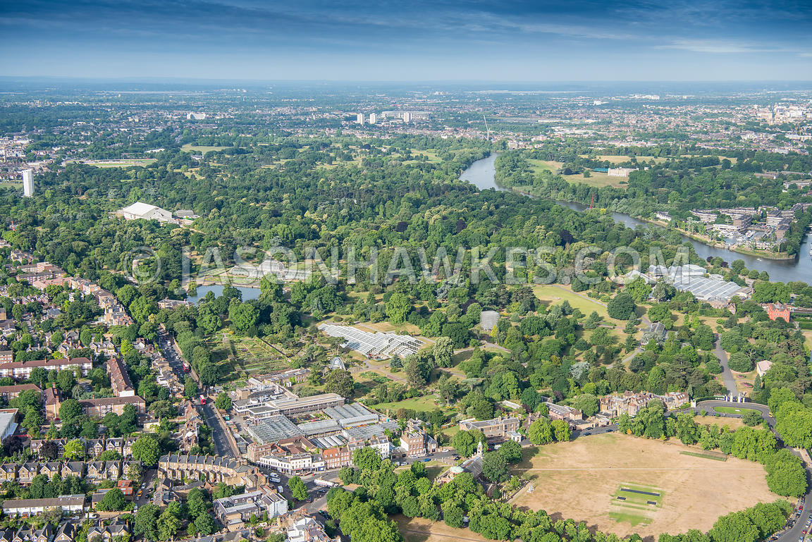 Aerial view of London, Royal Botanic Gardens, Kew.