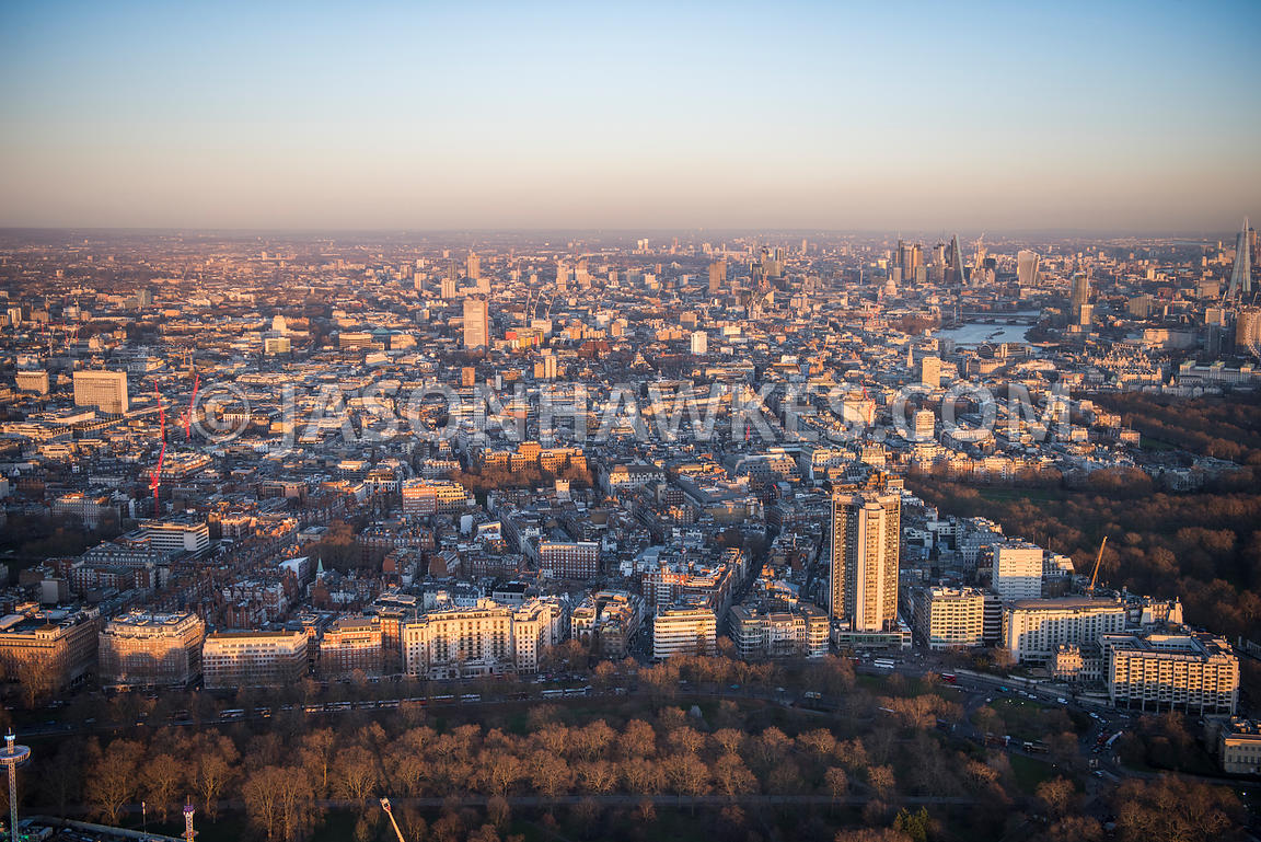 Aerial view of London, Mayfair with Hyde Park, Green Park and Berkeley Square.