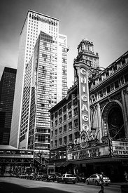 Chicago Theatre Black and White Picture