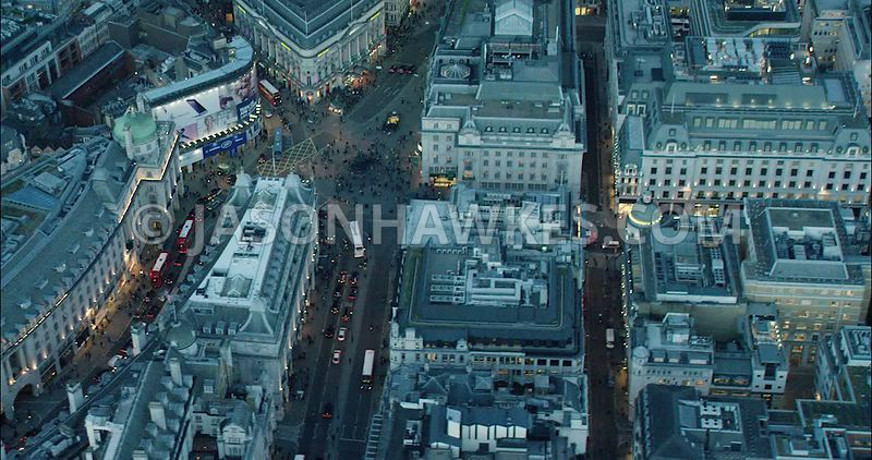London Aerial Footage of Regent Street and Piccadilly Circus.
