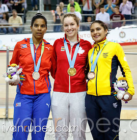 Women's Keirin Podium. Track Day 2, Toronto 2015 Pan Am Games, Milton Pan Am/Parapan Am Velodrome, Milton, On; July 17, 2015