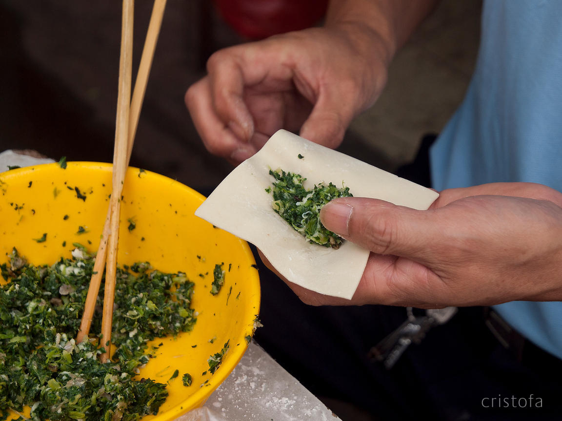 wonton creation in a side street in Shanghai