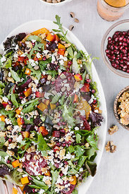 Citrusy Roasted Beet Goat Cheese Salad with Black Eyed Peas