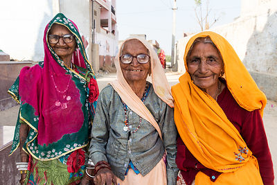 Lovely elderly ladies who demanded to be photographed, in remote Saneriya village, Rajasthan, India