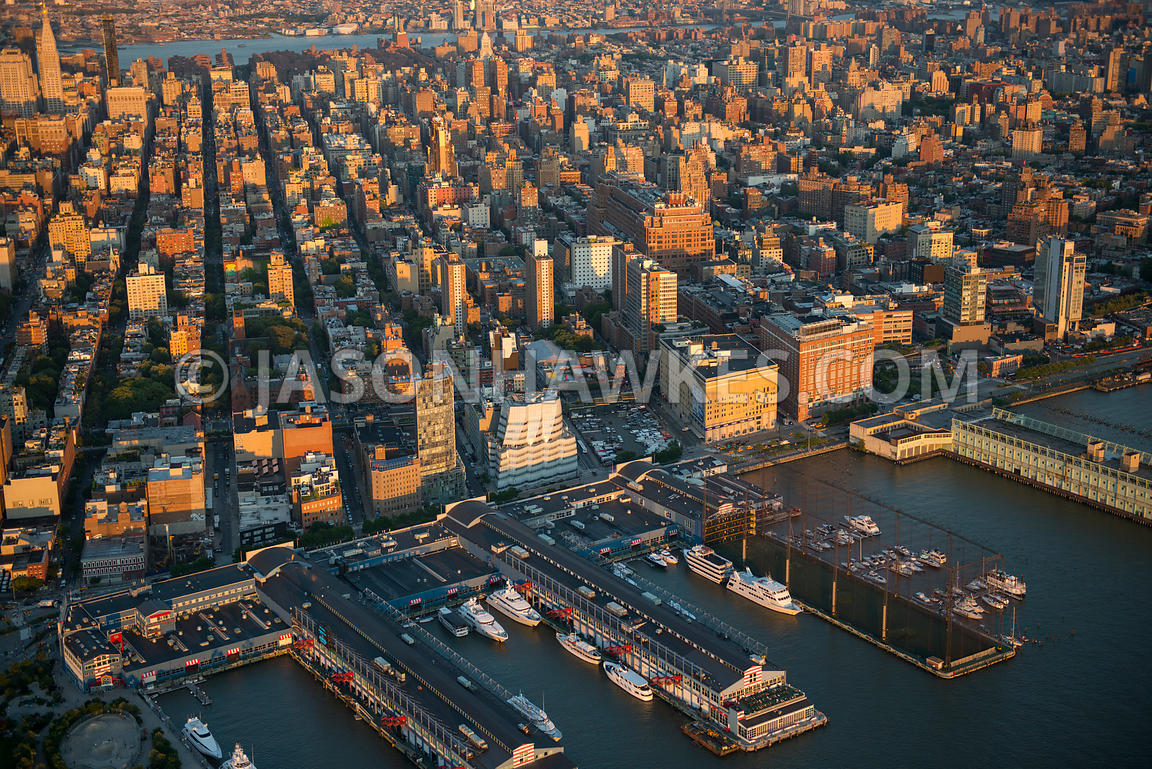 Aerial view of Chelsea, a neighbourhood located on the West Side of Manhattan