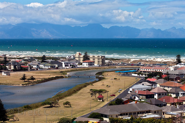 Housing developments on Cape Flats, near the Atlantic Ocean in Muizenberg, in former habitat for chacma baboons, Cape Peninsu...