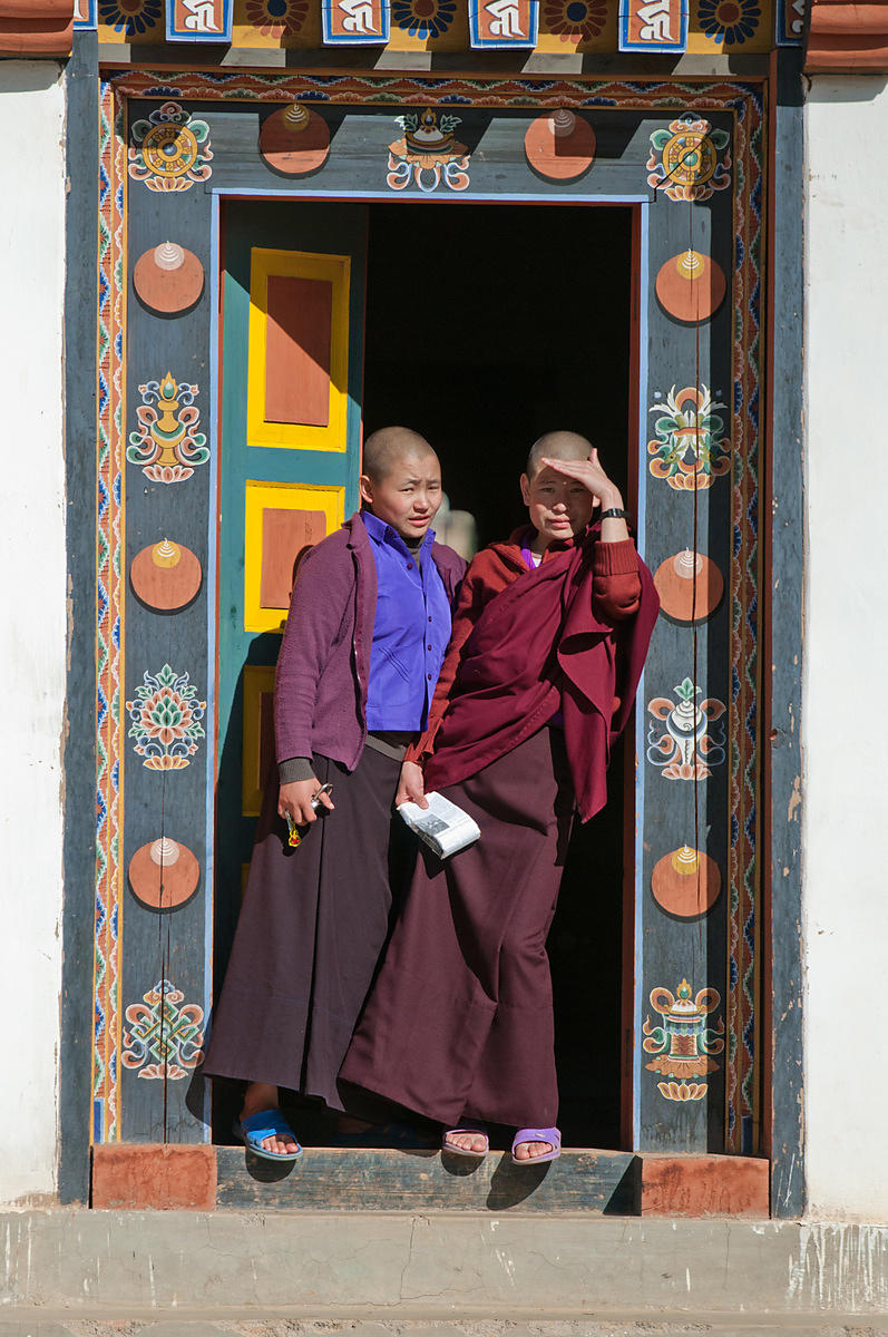 This group portrait of the buddhist monks was shot during the Thimphu festival, Bhutan