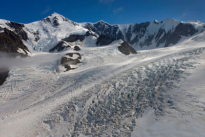 Aerial view of Paget Glacier, South Georgia, February 2011