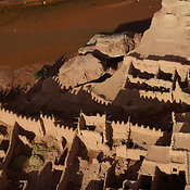 Aerial View of a Kashbah (Fortified Mud Village ) near Ksar of Ait-Ben-Haddou, Morocco