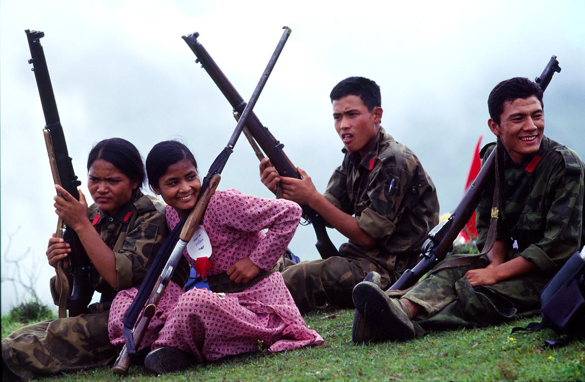 Maoist rebels at a rally in Dolakha, Nepal