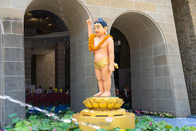 A statue of Baby Buddha at the Fo Guang Shan Buddha Museum in Dashu District, Kaohsiung, Taiwan