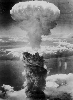 JAPAN Nagasaki -- 08 Aug 1945 -- Out with a bang...A dense column of smoke rises more than 60,000 feet into the air over the ...