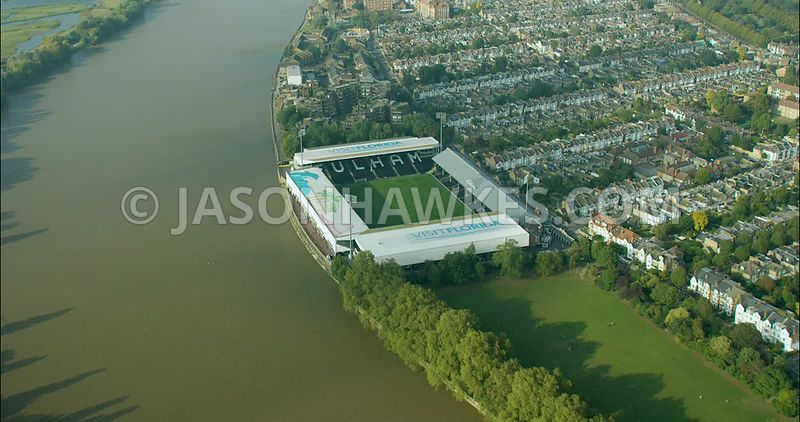 London Aerial Footage of Fulham Football Ground.