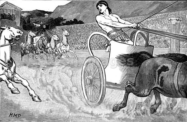 Cleisthenes on chariot at Olympic Games