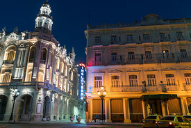 Night shots of Gran Teatro de La Habana Alicia Alonso. The Cuban National Theatre on the Prado in Havana, Cuba. It is home to...